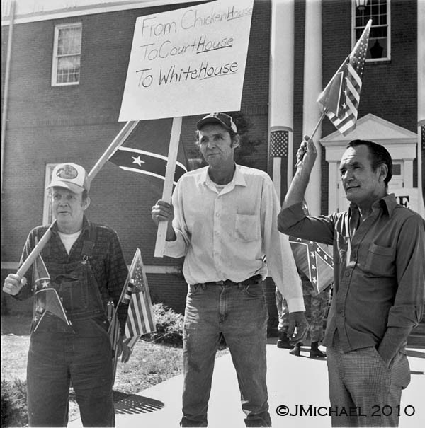 Counter-protesters at Freedom March II in Forsyth County, Georgia. January 24, 1987.